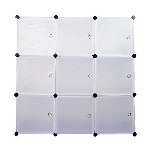Regalsystem DIY Kinderregal Garderobenschrank Wäscheschrank Steckschrank Kleiderschrank Aufbewahrung Kapazität 450L Schwarz  Weiß