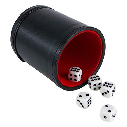 Monrocco Würfelbecher-Set, aus PU-Leder, Filzfutter, inkl. 5 Punkt-Würfel für Spiele (schwarz) -