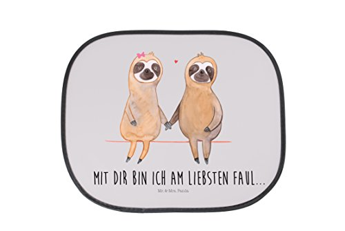 Preisvergleich Produktbild Mr. & Mrs. Panda Auto Sonnenschutz Faultier Pärchen - 100% handmade in Norddeutschland - Kunstfaser, relaxen, Auto, gemeinsam, verliebt, Faultierpärchen, Fenster, Familie, Kinder, PKW, faul, faul