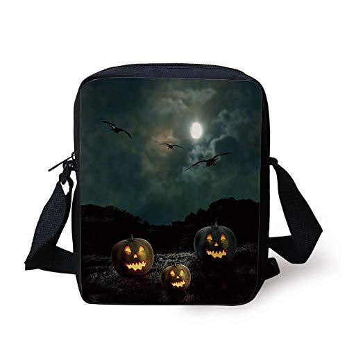 Halloween,Yard of an Old House at Night Majestic Moon Sky Creepy Dark Evil Face Pumpkins Decorative,Multicolor Print Kids Crossbody Messenger Bag Purse