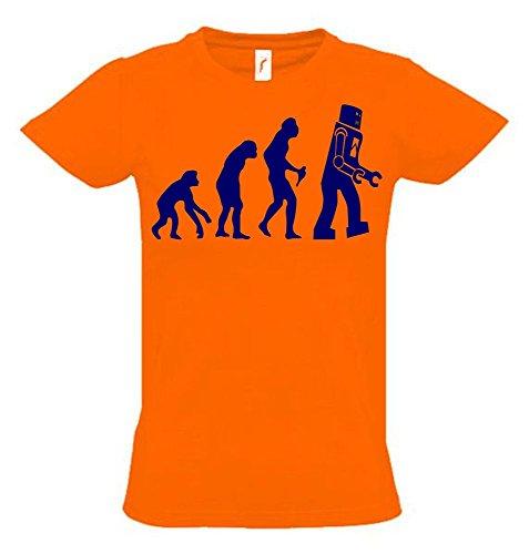 ROBOTER Evolution Kinder T-Shirt orange-navy, Gr.128cm