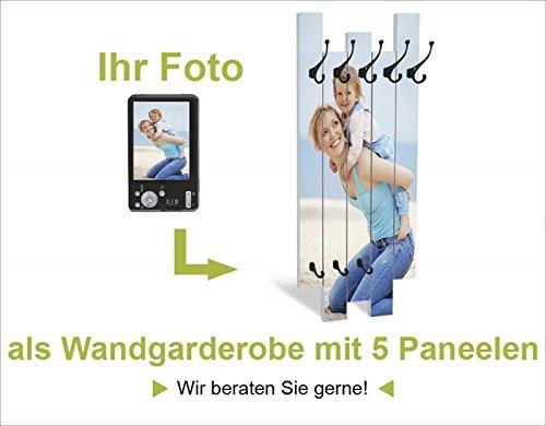 Artland Wunschmotiv auf Einer Wand-Garderobe 5 Holz-Paneele mit gusseisernen Haken Ihr Foto Drucken Größe 114 x 68 x 2,8 cm