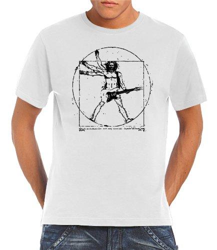Touchlines - T-Shirt Da Vinci Rock Guitar, T-shirt da uomo, Bianco (White), L