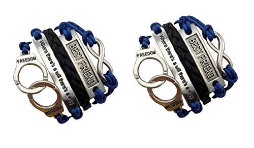 Imagen de strass & paillettes lote de dos pulseras best friend azul marino y cita. pulsera pareja de esposas. enlace infinito de plata. regalo de mejor amigo