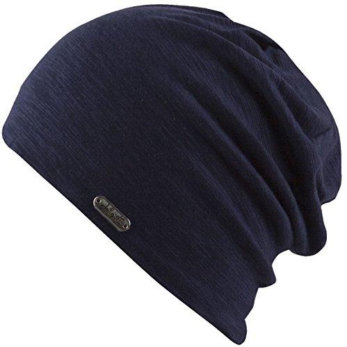 Feinzwirn leichte Beanie Mütze in modernen Mustern und Farben - Leed (Navy)
