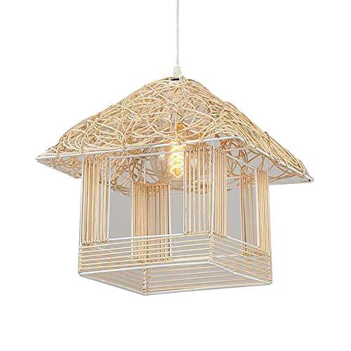 Beleuchtung/Kronleuchter/Rattan Vogelkäfig Kronleuchter Handgemachte Kunst Vogelkäfig Lampe Körper Schlafzimmer Wohnzimmer Personalisierte Dekorative Lichter,Primarycolor,40Cm