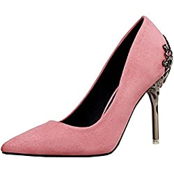 Wealsex Wildleder spitz Stiletto Damen Pumps Hochzeitsschuhe High Heels(Pink,39)