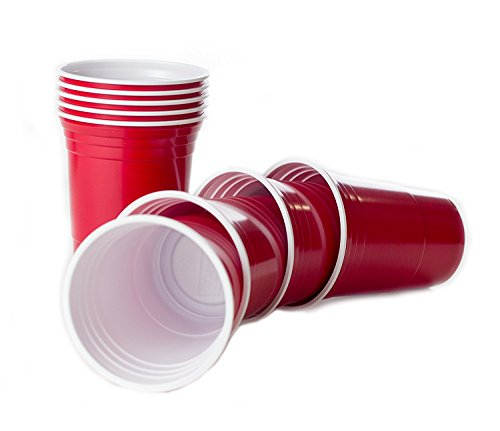 Rote Becher, Red Party Beer Pong Cups 16 oz. 473 ml rot, US College Style - (50 Stück/pieces) -