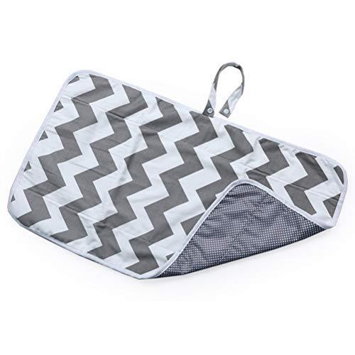 Hihey Wickelunterlage für Unterwegs, Tragbare Wickelunterlage, Windel Matte mit Taschen für Babys und Kleinkinder, Wickelauflage für Haus Reise Unterwegs, Faltbar Waschbar (Grau) -