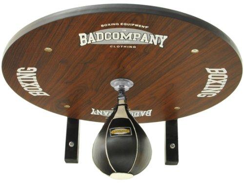 Profi Speedball Plattform Set inkl. Drehkugellagerung schwarz und Leder Boxbirne medium schwarz / Boxapparat für die Wandmontage BCA-39