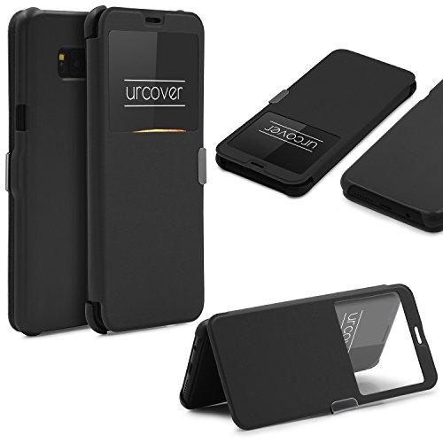 Urcover® View Case Elegant Wallet kompatibel mit Samsung Galaxy S8 Plus Schutz-Hülle & Sicht-Fenster   Hart Kunststoff Cover   leichte Schale dünne Tasche Schwarz (Kunststoff Leichter Schwarz)