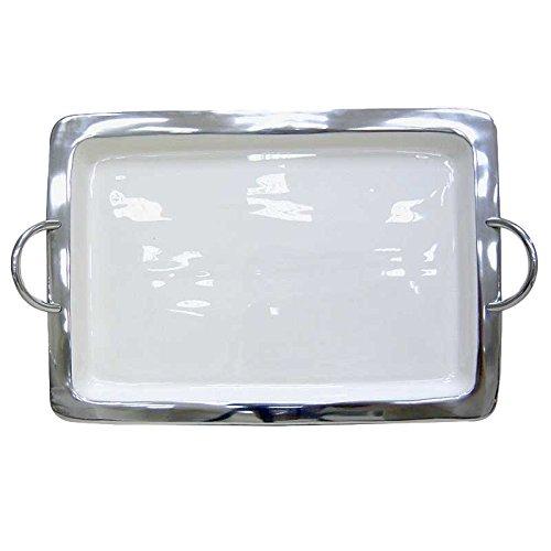 Better & Best 1931202 – Plateau en Aluminium émaillé rectangulaire, Très Grand Format, avec poignées et Bordure Lisse argenté, Blanc
