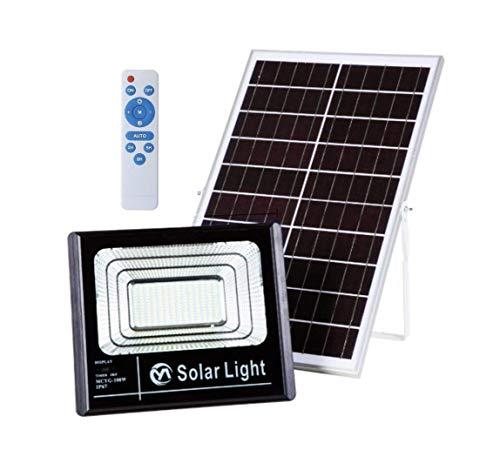 Número de LEDs: 196Poder del reflector: 100WBrillo del reflector: 5000 lúmenesVida del LED: más de 50.000 horas.Energía del panel solar policristalino: 6V 25WCapacidad de la batería de litio: 24000 mAhTiempo de iluminación: 16-28 horas (relacionado c...