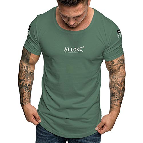 MRULIC Herren Mode Sommer T-Shirt lässig Slim Fit Floral Kurz Gedruckt Ärmelloses T-Shirt Top Hemd(C-Grün,S)