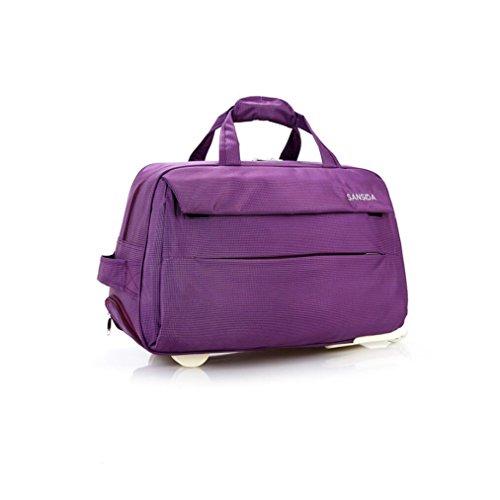 YAN Gepäcktasche mit Hebel Gepäcktasche Übergroße Leinwand Weekender Bag Reisetasche Herren Duffle Bag für Frauen & Männer mit separaten Schuhfach (Color : Lila, Style : Small)