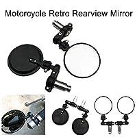 YSHtanj Rear Viewer Mirror Motorcycle Parts Rear Viewer 2Pcs Vintage Folding Motorcycle Handlebar Rear Viewer Glass Round Mirror Parts
