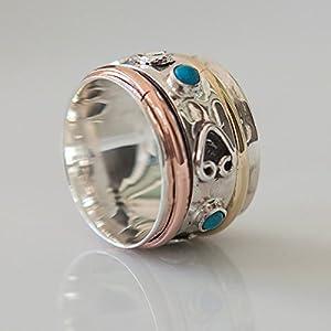 925 Sterling Silber Spinner Ring Set mit Messing- und Kupfer-Elementen und türkisfarbenem Edelstein – Spinnring…