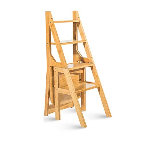 Step stool Massivholzhocker Haushaltsleiter faltbar Schritt 4 Klettern Leitern, multifunktionale Racks, Erwachsene Kinder Hochstuhl