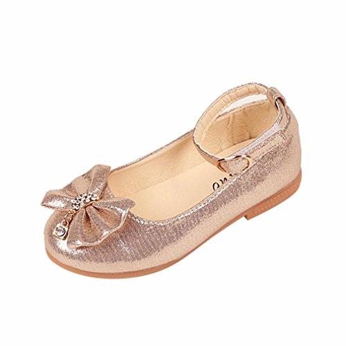 K-youth® Zapatos Niñas Carnaval Zapato Princesa Niña Sandalias de Vestido Flat Shoes Bailarinas Princesa Zapatos con Tacón Para Cumpleaños Fiesta Cosplay (23 EU, Dorado)