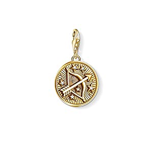 Thomas Sabo Unisex Charm Pendant Zodiac Sign Sagittarius 925 Sterling Silver; 18k Yellow Gold Plating 1660-414-39