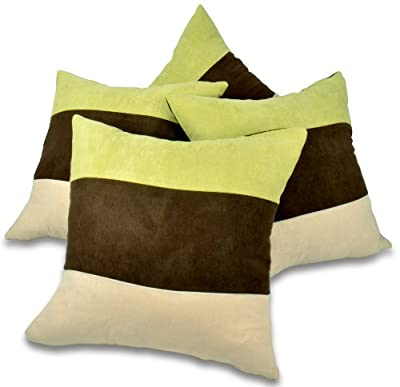 "Set of 4 Lime Green, Brown & Cream Faux Suede 18"" Cushion Covers - cheap UK light shop."