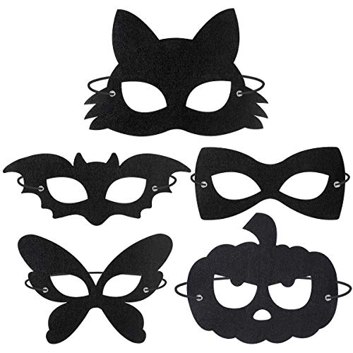 BESTOYARD Halloween Filzmaske Maskerade Masken 20 stücke Kostüm Zubehör Party Favors Supplies Cosplay für Kinder Erwachsene (Schwarz) (Supplies Halloween-kostüme Party)