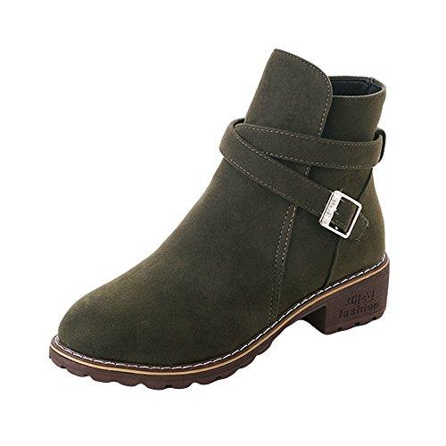 ♥‿♥ Loveso Mode Schuhe Damen,Heiße Angebote,Stiefel für Frauen Komfort Martin Schuhe Niedrige Chunky Heel Booties Closed Toe Schnalle Knöchel Stiefel Boots