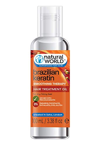 Natural World Brazilian Keratin Smoothing Therapy Hair Treatment Oil 100ml