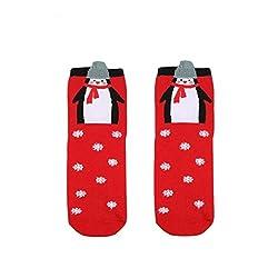TWIFER Frauen Männer Weihnachten Komfortable Streifen Baumwollsocke Kurze Söckchen (E, Freie Größe)