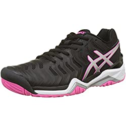 Asics Gel-Resolution 7, Zapatillas de Tenis para Mujer, Negro (Black/Silver/Hot Pink 9093), 40.5 EU