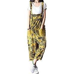 SiDiOU Group Mujer Petos Casual Pantalones Impreso Pantalones Holgados Pierna ancha Mono Algodón Traje de mono de Romper (Talla única, Estilo 4-Amarillo)