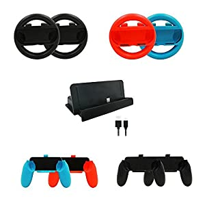 KOBWA für Nintendo Switch Joy-Con Racing Lenkrad, Racing Wheel Handle Griff für Nintendo Switch Schalter Joy-Con Joycon Controller Gamepad Controller Joy Cons