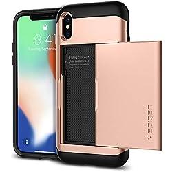 Spigen Coque iPhone X, Etui iPhone X, [Slim Armor CS] Slim Fit Protection Double Couche [Blush Gold] Fente pour Carte/Coque Etui Housse pour iPhone X (2017) - (057CS22157)