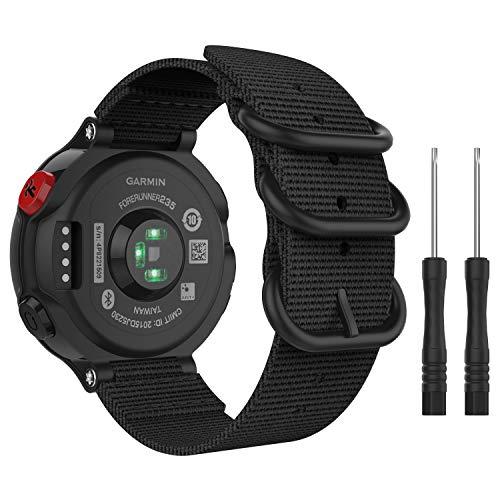 MoKo für Garmin Forerunner 235 Armband, NATO Nylon Uhrenarmband Ersatzarmband Handgelenk Band Strap für Garmin Forerunner 235, Armbandlänge 5.51-7.87 (140mm-200mm) - Schwarz