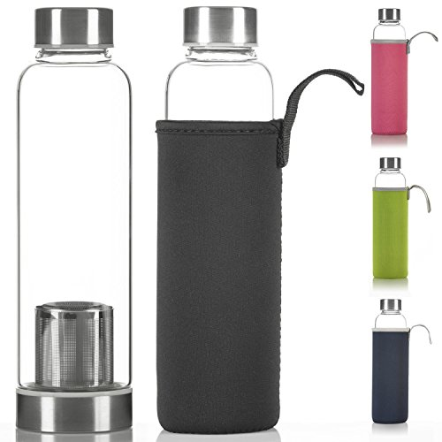 DIMONO Deluxe Trinkflasche aus Glas 600ml - Sport Glasflasche Wasser-Flasche; bruchsicher mit Edelstahl Filter-Einsatz & Nylon Thermo-Hülle - Schwarz (Filter Reinigen Das Wasser)