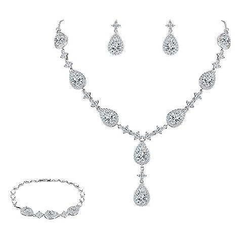 FANZE Damen Full Cubic Zirconia Gorgeous Tropfen Y Halskette Pierced Ohrringe Tennis Armband Hochzeit Schmuck Set