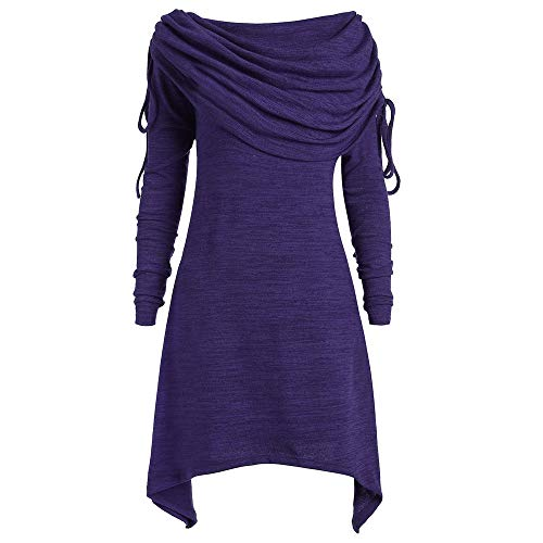 UYSDF Plus Size Damen Bluse Fashion Solid Geraffte Lange Foldover Kragen Tunika Top Tops 2019