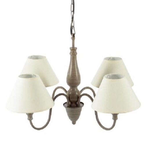 Atmospera Suspension Charme Taupe en métal patiné 4 Abat-Jours