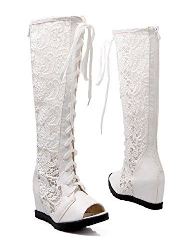 YE Frauen Peep Toe Wedges Keilabsatz Height Increasing Spitze Leder Gladiator Römische Schnüren Hoch Sandalen Sommer Stiefel Schuhe Weiß