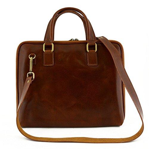 Leder Aktentaschen Mit Reißverschluss Und Zwickel Farbe Cognac - Italienische Lederwaren - Aktentasche (Zwickel-aktentasche Aus Leder)
