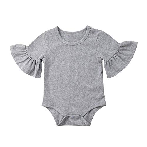 WANGSAURA Baby Mädchen Junge Strampler Ausgestelltes Ärmel Einteiler Overall Rüschehülse Bodysuit Einfarbig Spielanzug Kinder Kleidung -