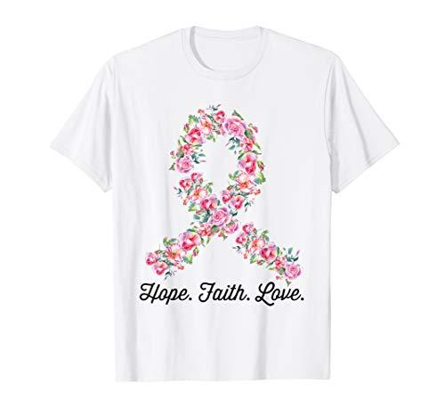 Pink Ribbon Hope Faith Love Shirt Breast Cancer Awareness T-Shirt -