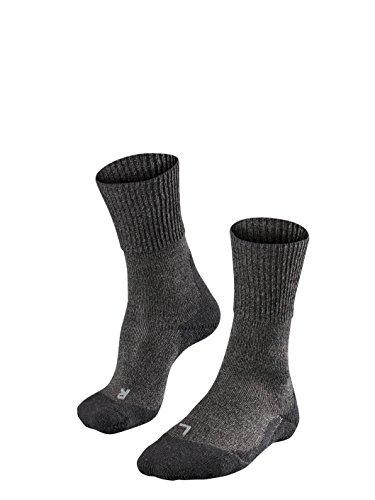 FALKE TK1 Wool Herren Trekkingsocken / Wandersocken - grau, Gr. 42-43, 1 Paar, Merinowolle Seide, mittelstarke Polsterung, wärmende & kühlende Wirkung (Apparel Socks Wool Herren)