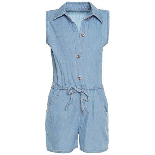 Mädchen Freizeit Jumpsuit Ärmellos Stoff Overall Einteiler Onesie Body 21279, Farbe:Blau;Größe:164