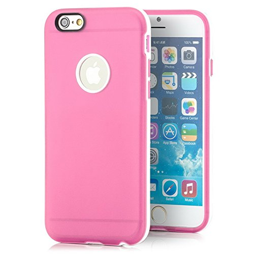 Saxonia iPhone 6 Plus / 6S Plus Hülle Case Ultra Slim Cover Silikon Schutzhülle Handy Backcover Bumper Orange Rosa
