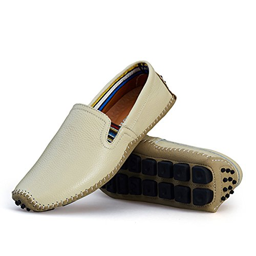 AFFINEST Herren Leder Slip-on Lässige Loafer Fahren Bootsschuhe Beige