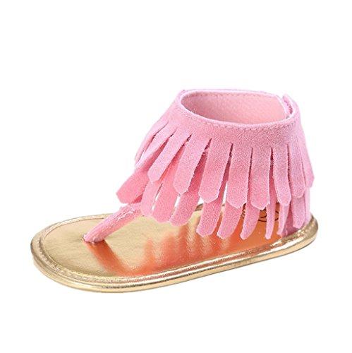 Auxma Baby Mädchen Krippe Schuhe Neugeborene Blume Soft Sohle Anti-Rutsch Baby Sneakers Sandalen für 3-18 Monate (6-12 M, Blau) Rosa