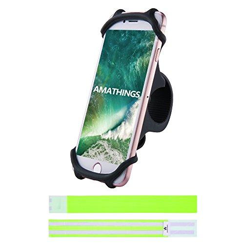 amathings Stablier Fahrrad-Smartphonehalter In Schwarz Und 2 Reflektierende Hosenschutz-Bänder Auto-Lenkrad-Halter Für Smartphones Bis 5,5