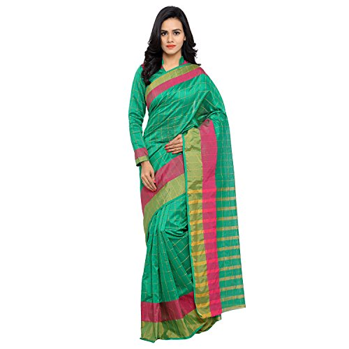 Sarvagny Clothing Women's Dark Green Chanderi & Poly Silk Kanjivaram Saree with Blouse Piece  available at amazon for Rs.399