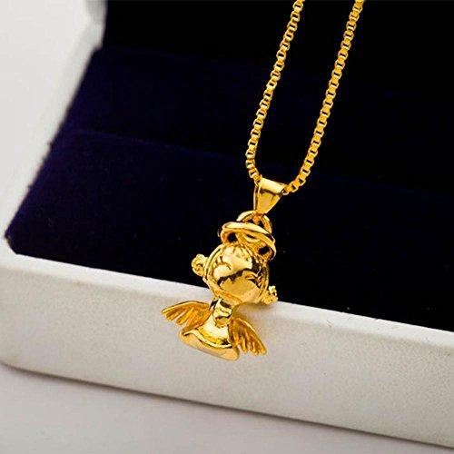Aoligei Euro Gold vergoldet Schmuck weibliche Messing vergoldet 24K vergoldet Cherub Anhänger Mode Trends lange Zeit nicht verblasst (Cherub Anhänger)